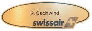 Swissair Namensschild  #57