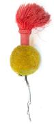 Gelber Pompon mit roter Flamme #1480
