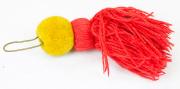 Gelber Pompon mit roter Flamme #1481