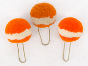 3 Pompons orange-weiss #2116