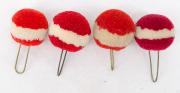 4 Pompons rot mit weissem Ring #2119